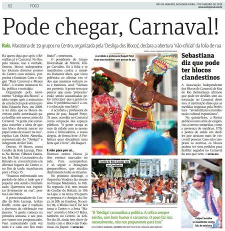 Update - Fonte: jornal Metro Rio de 07.01.2019.